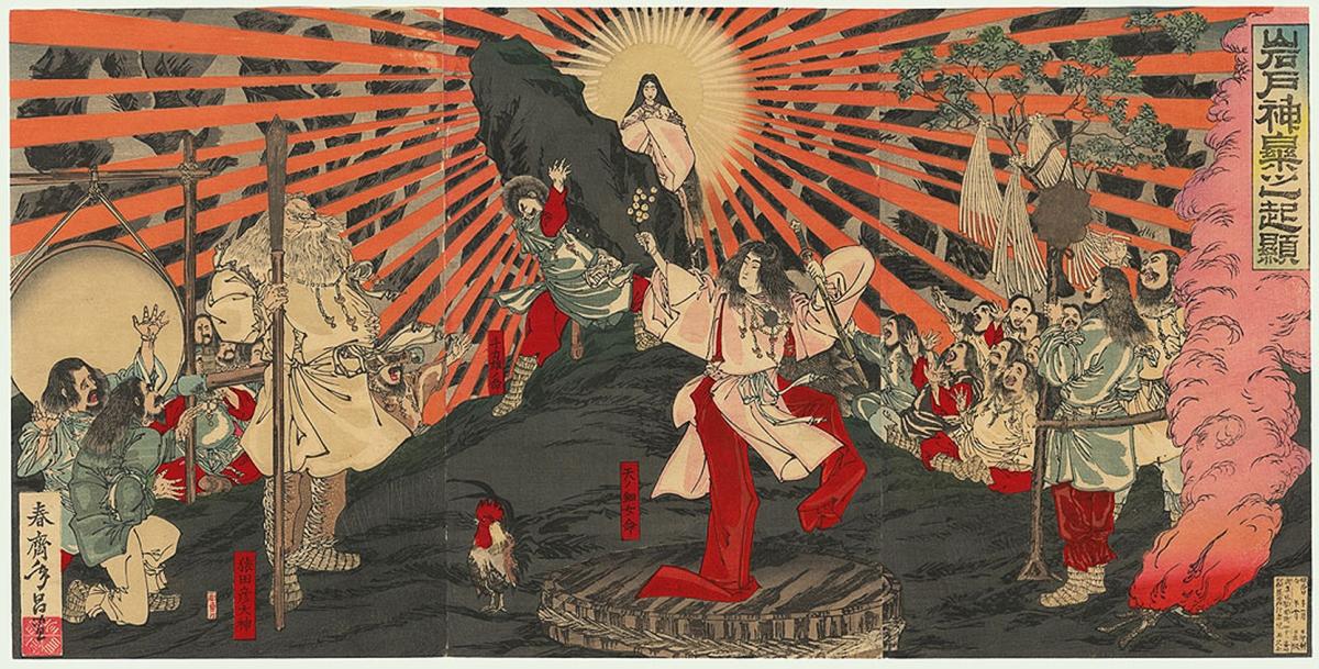 In questa stampa, la dea Amaterasu esce dalla caverna in cui si era rifugiata e torna a illuminare la Terra